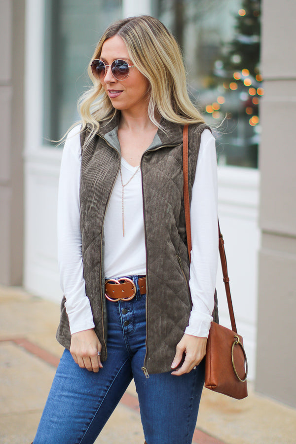 S / Olive Chic Interest Quilted Vest - Madison + Mallory