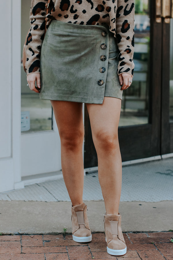 Olive / S You'll Remember Button Down Skort - Olive - FINAL SALE - Madison + Mallory