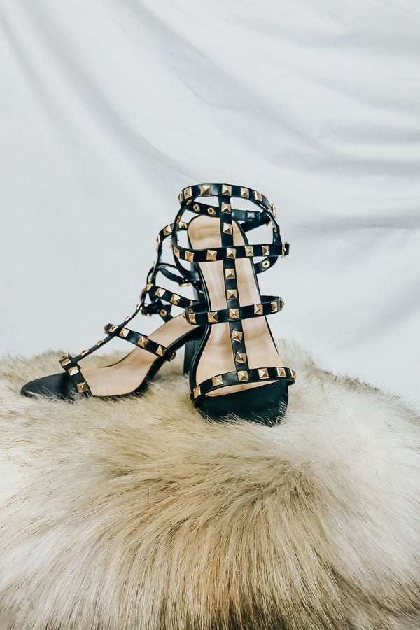 5.5 / Black Treasured Studded Strappy Heels - Madison and Mallory