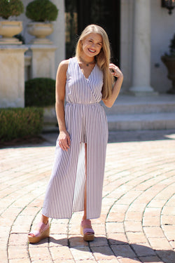 S / White Striped Cut Away Maxi Dress - Madison + Mallory