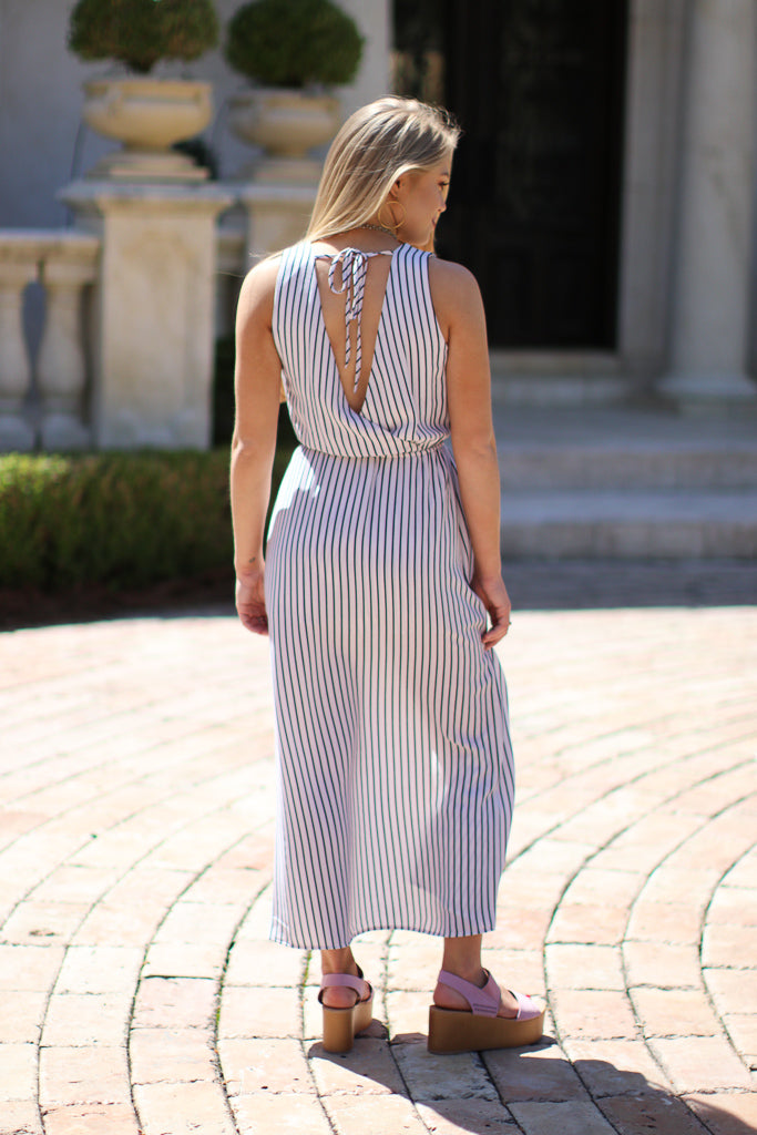 Striped Cut Away Maxi Dress - Madison + Mallory