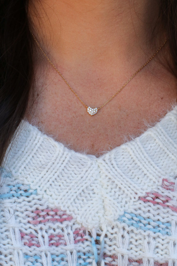 Gold Eye Candy 14KT Pave Heart Necklace - Madison and Mallory
