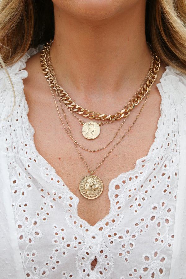 OS / Gold Valdese Coin Layered Chain Necklace - Madison + Mallory