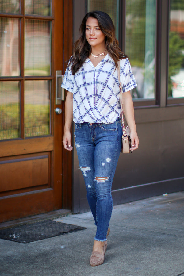 Timeless Favorite Plaid Surplice Top - FINAL SALE - Madison + Mallory