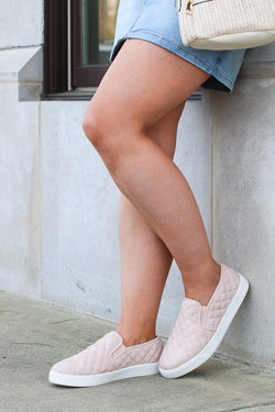6 / Blush Ahead of Myself Quilted Sneakers - FINAL SALE - Madison + Mallory