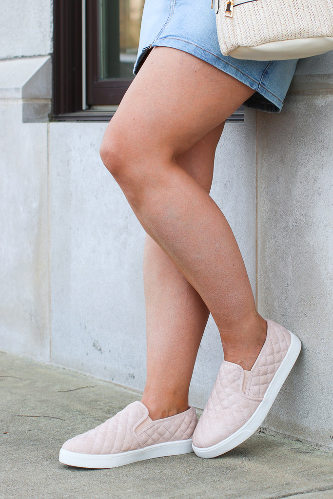 6 / Blush Ahead of Myself Quilted Sneakers - Madison + Mallory