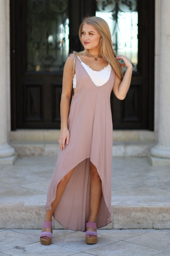 Mauve / S Shoulder Tie Hi-Low Dress + MORE COLORS - Madison + Mallory