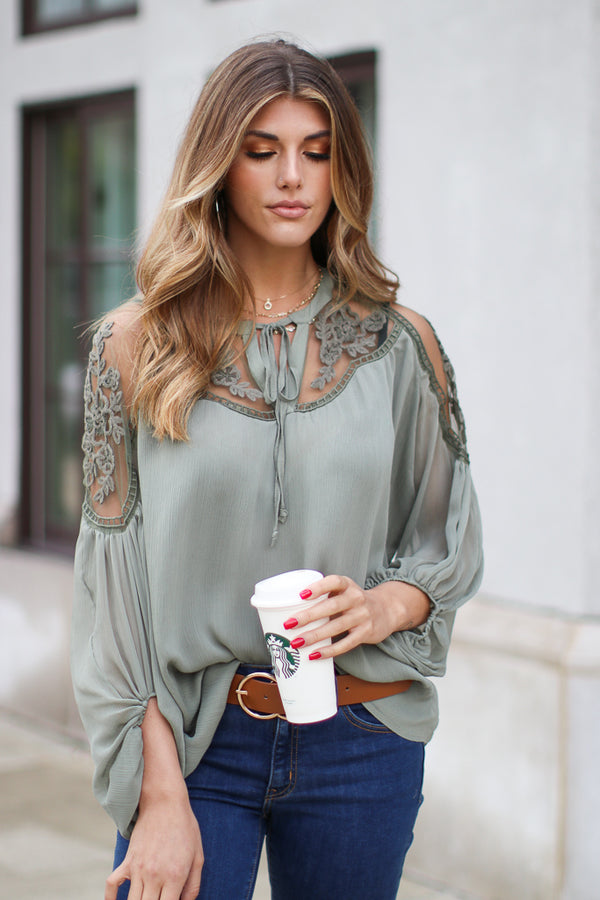 Olive / SM Galloway Lace Detail Top | More Colors - Madison + Mallory