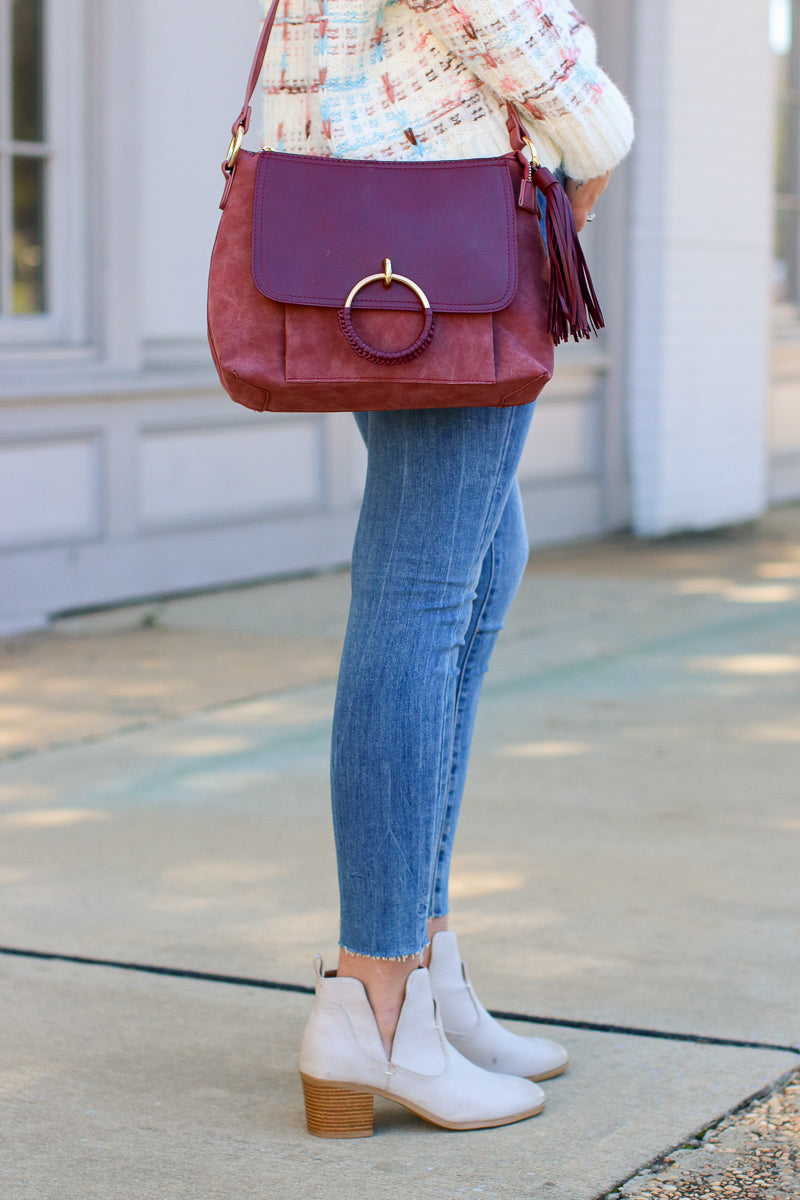 Coachella Valley Tassel Ring Bag - Burgundy - Madison + Mallory
