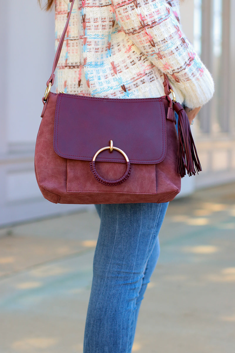 Burgundy Coachella Valley Tassel Ring Bag - Burgundy - Madison + Mallory