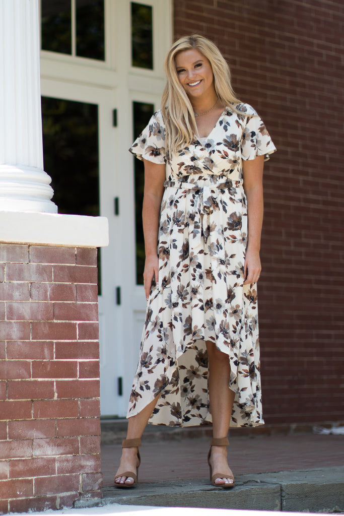 S / Beige Mila Floral Dress - Madison + Mallory