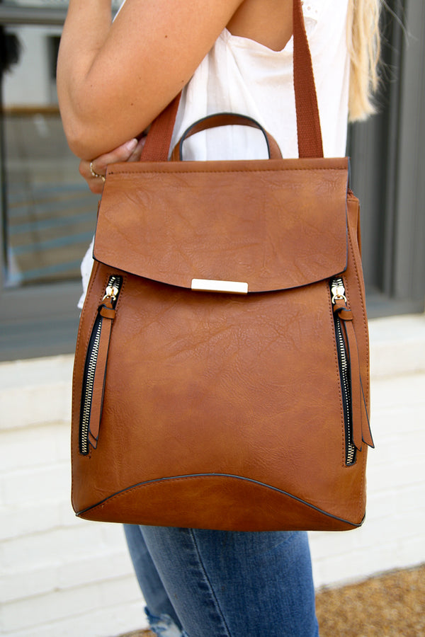OS / Brown Free Bird Faux Leather Backpack - Brown - Madison + Mallory