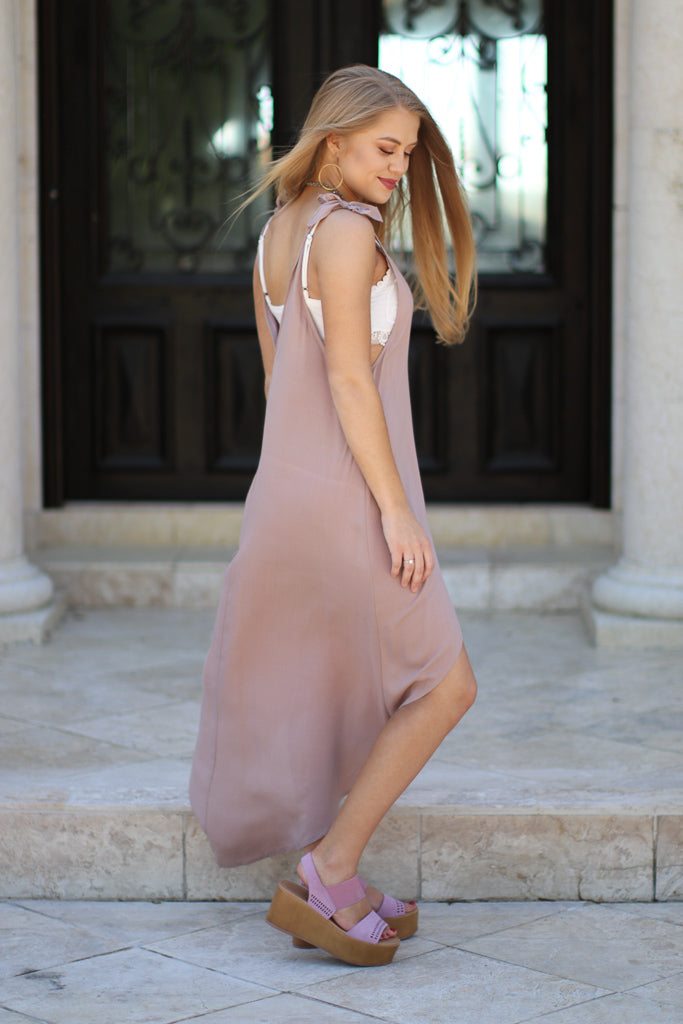 Shoulder Tie Hi-Low Dress - Madison + Mallory