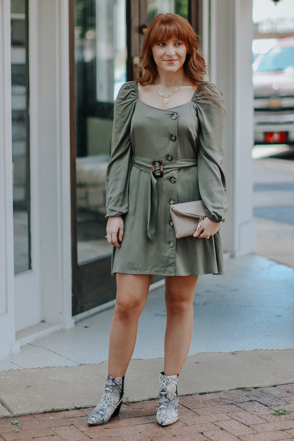 S / Olive Chic and Charming Belted Dress - Madison + Mallory