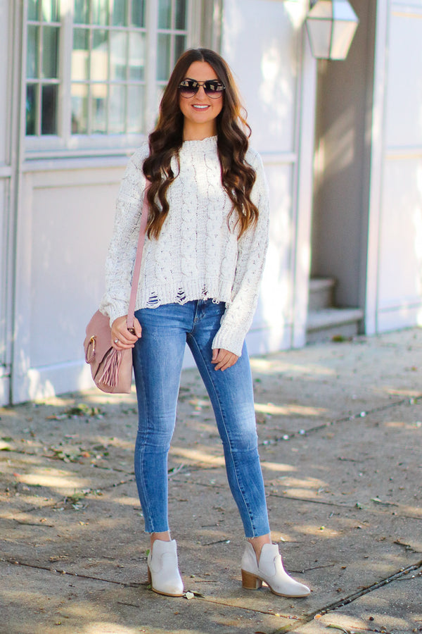 Winfrey Cable Knit Distressed Sweater - White - Madison + Mallory
