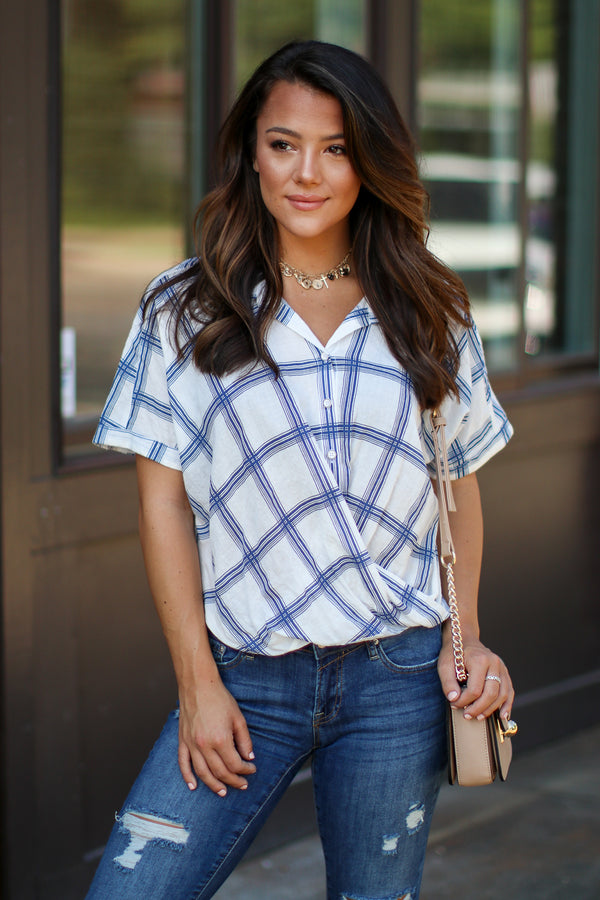 S / Blue Timeless Favorite Plaid Surplice Top - FINAL SALE - Madison + Mallory