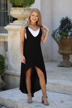 Black / S Shoulder Tie Hi-Low Dress - Madison + Mallory