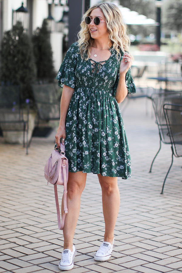 S / Green Classically Yours Ruffle Smocked Floral Dress - Madison + Mallory