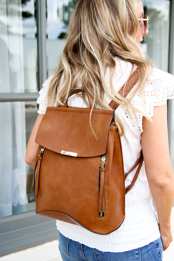 Free Bird Faux Leather Backpack - Brown - Madison + Mallory