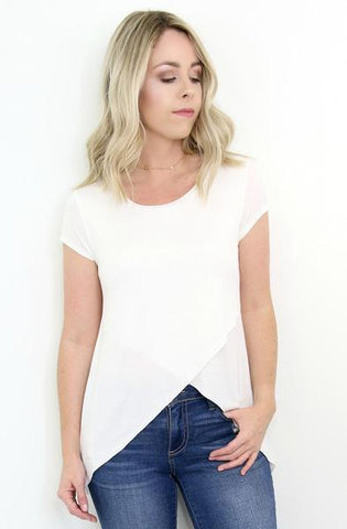S / White Short Sleeve Cross Front Top - Madison + Mallory
