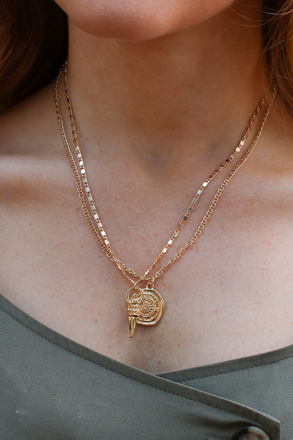 Gold Arcadia Layered Coin Pendant Necklace + MORE COLORS - Madison + Mallory