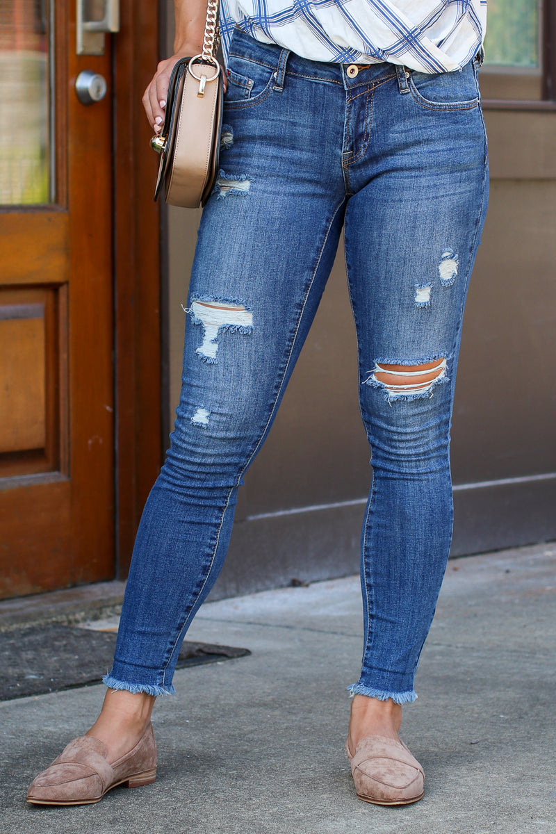 0 / Dark Here Again Distressed Cuffed Jeans - FINAL SALE - Madison + Mallory