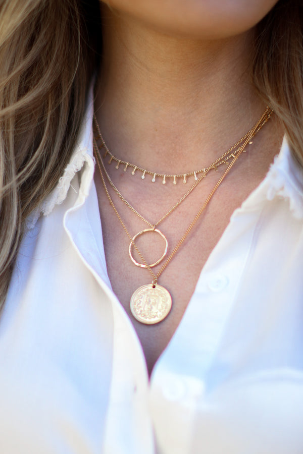 Gold Eviana Layered Coin Necklace - Madison and Mallory