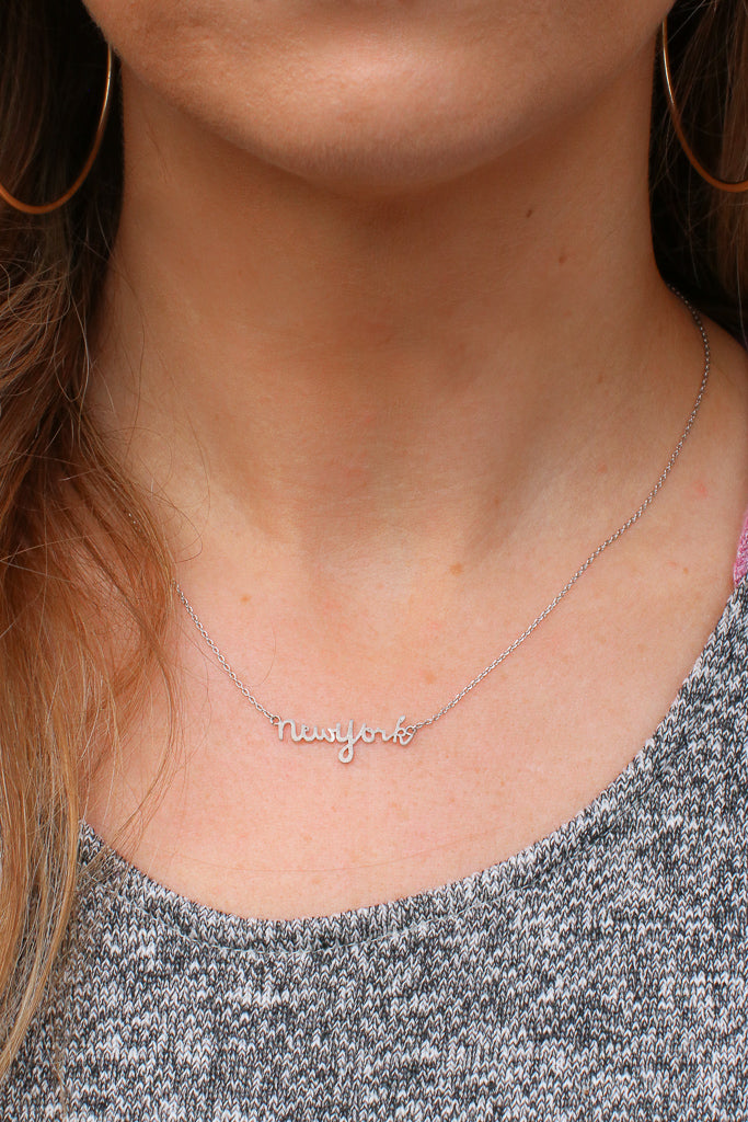 Silver New York Script Necklace - Madison + Mallory