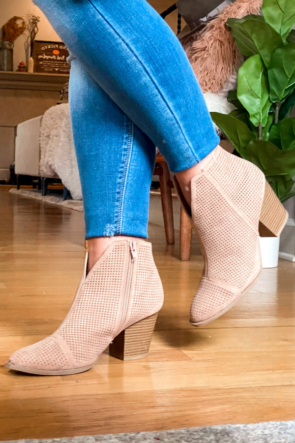 5.5 / Taupe Lorene Faux Suede Heeled Booties - Madison and Mallory