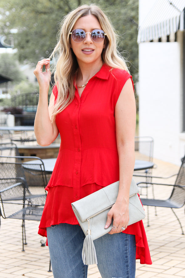 S / Red Ready to See You Ruffle Tiered Top - Madison + Mallory