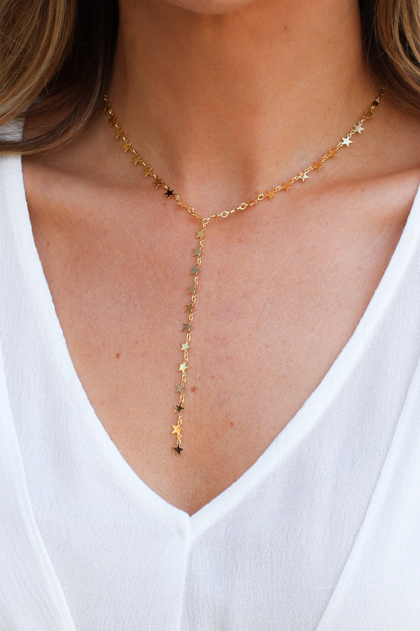 OS / Gold Stargazing Drop Y Necklace - Madison + Mallory