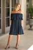 S/M / Navy Off Shoulder Ruffle Shift Dress - Madison + Mallory