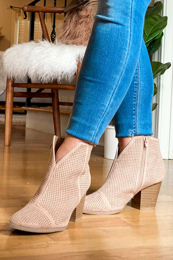 Lorene Faux Suede Heeled Booties - Madison and Mallory