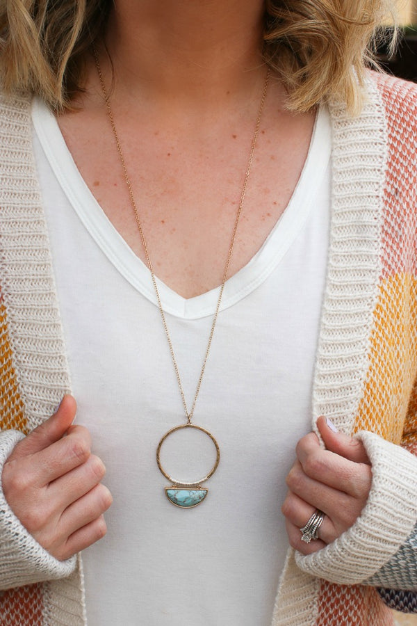 OS / Turquoise Out for the Day Stone Necklace - Madison + Mallory