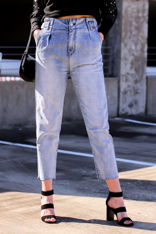 S / Light Stacie Pleated High Rise Mom Jeans - Madison and Mallory