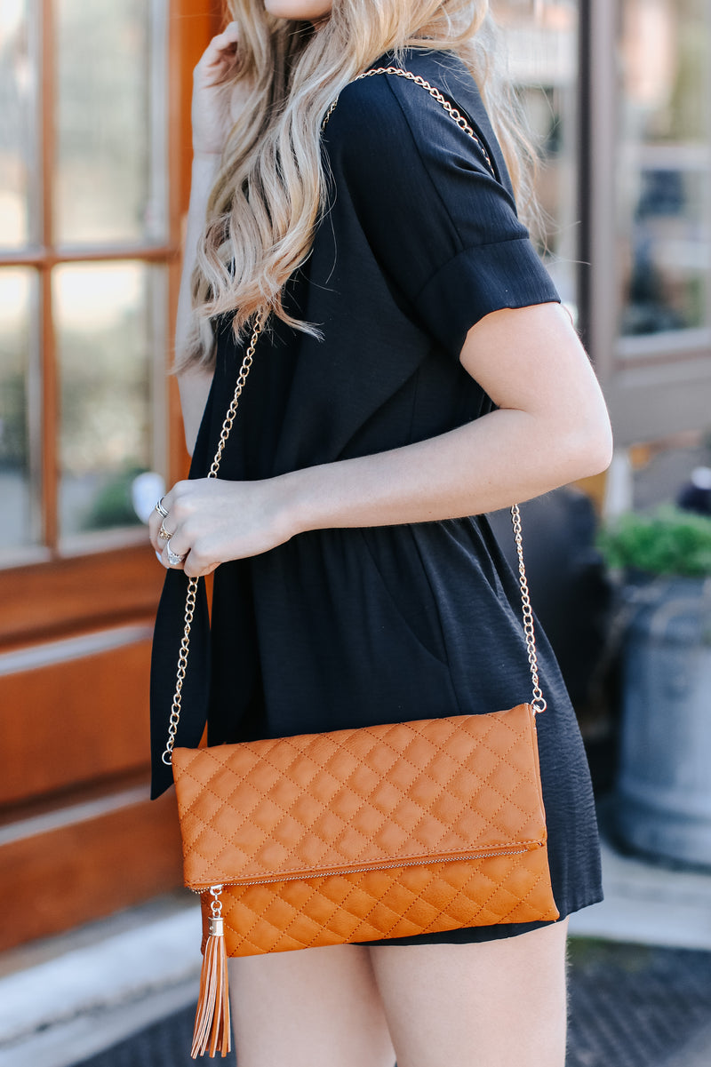 Glambition Quilted Faux Leather Clutch - Dark Tan - Madison and Mallory
