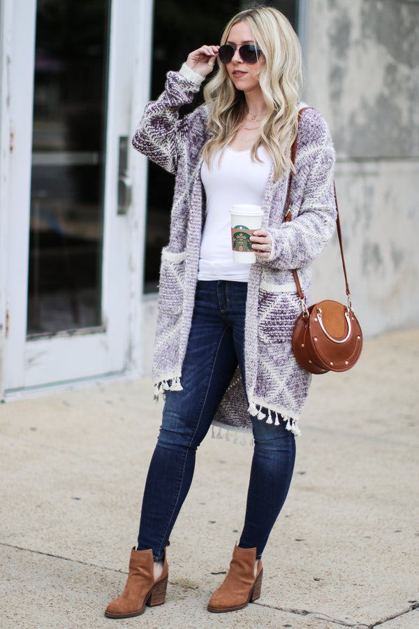 Abigail Geometric Printed Cardigan - Purple - Madison + Mallory