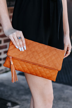 Dark Tan Glambition Quilted Faux Leather Clutch - Dark Tan - Madison and Mallory