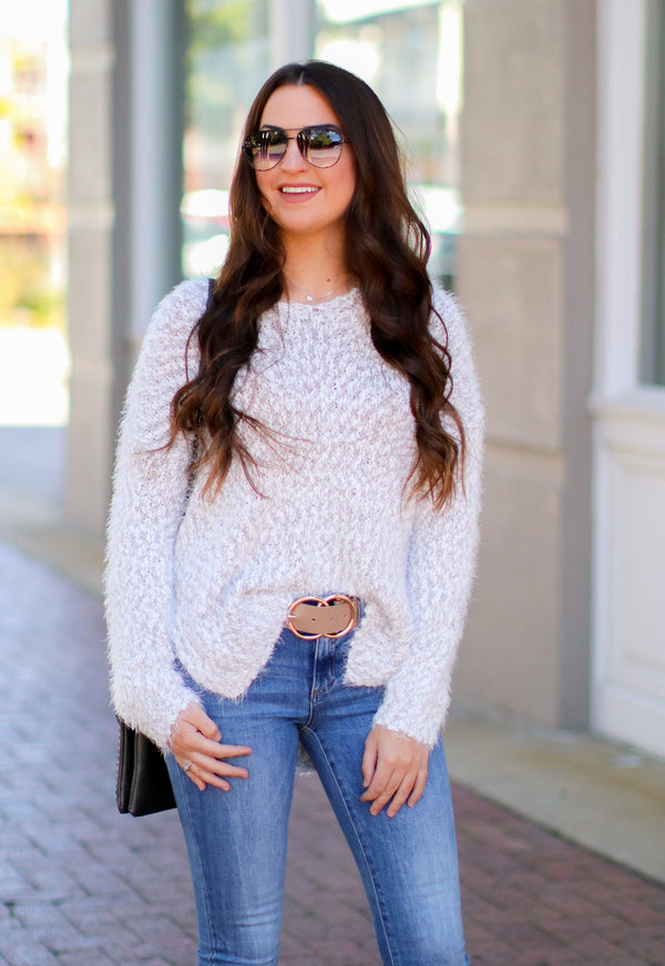S / Gray Justification Super Soft Fuzzy Knit Sweater - Madison + Mallory