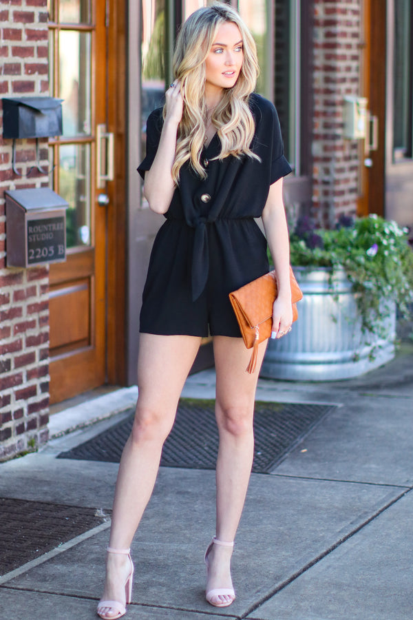 Trust Me Button Detail Romper - Black - Madison and Mallory