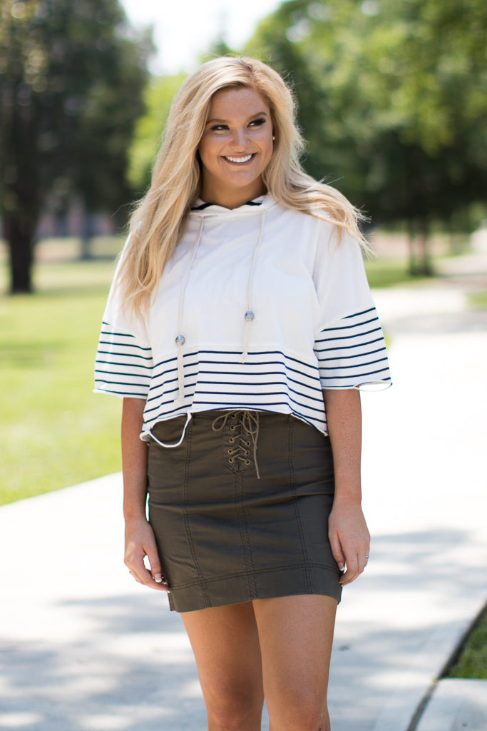 S / Navy Striped Short Sleeve Hoodie Top - Madison + Mallory