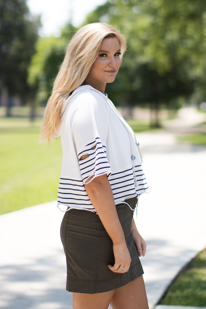 Striped Short Sleeve Hoodie Top - Madison + Mallory