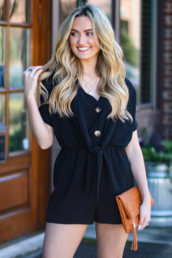 Black / S Trust Me Button Detail Romper - Black - FINAL SALE - Madison and Mallory