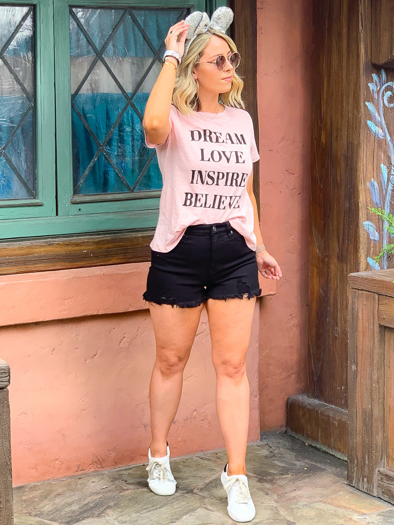 Dream Love Inspire Believe Graphic Top - Pink - Madison + Mallory