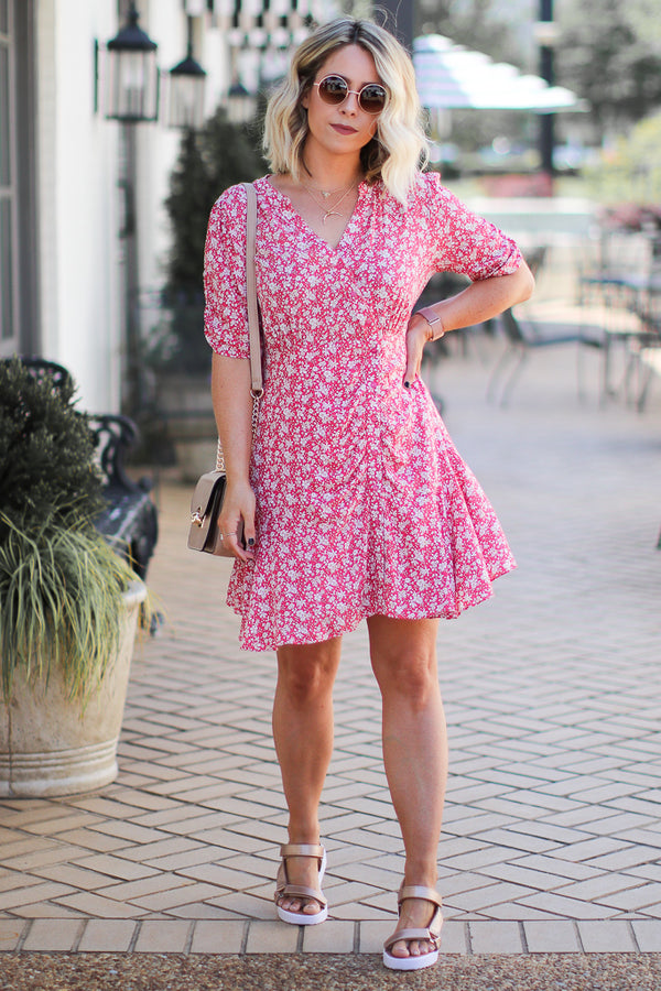 Getting Closer Ruched Floral Dress - Madison + Mallory