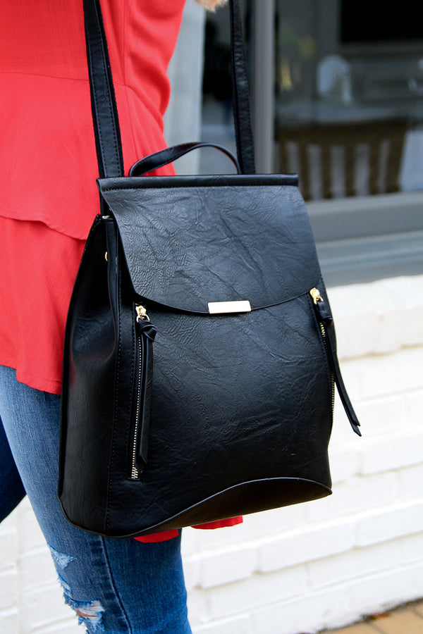 Free Bird Faux Leather Backpack - Black - FINAL SALE - Madison + Mallory