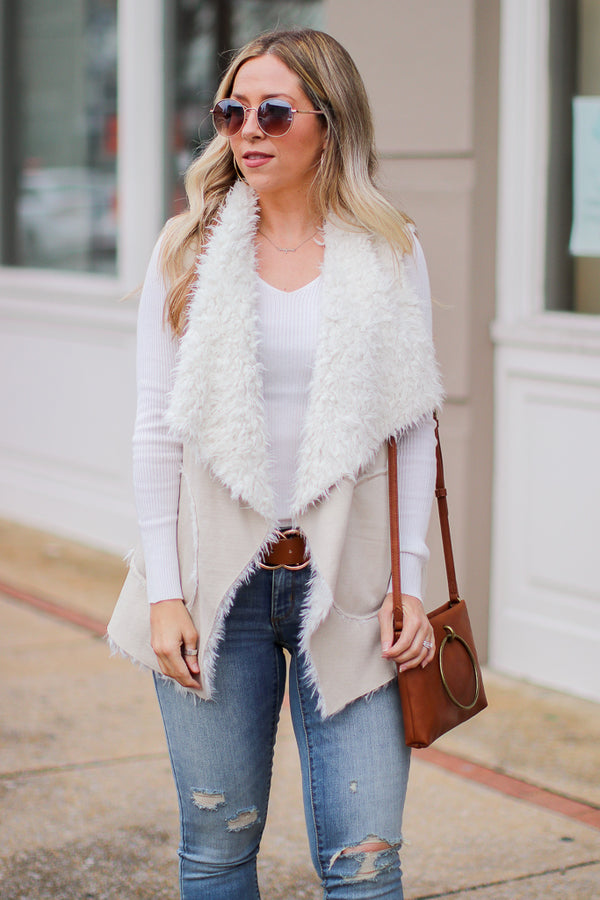 S / Sand Fearlessly Fab Fur Vest - Madison + Mallory