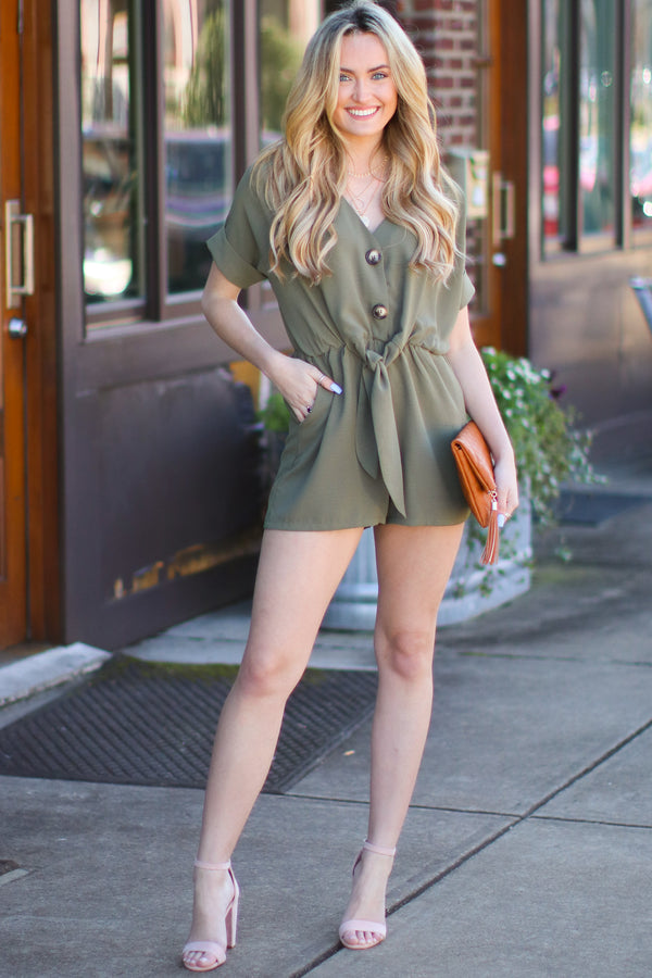 Trust Me Button Detail Romper- Olive - Madison and Mallory