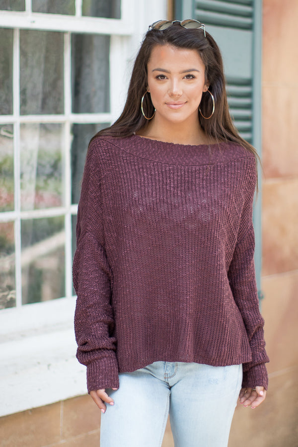 S / Maroon Wide Neck Ribbed Knit Sweater - Madison + Mallory