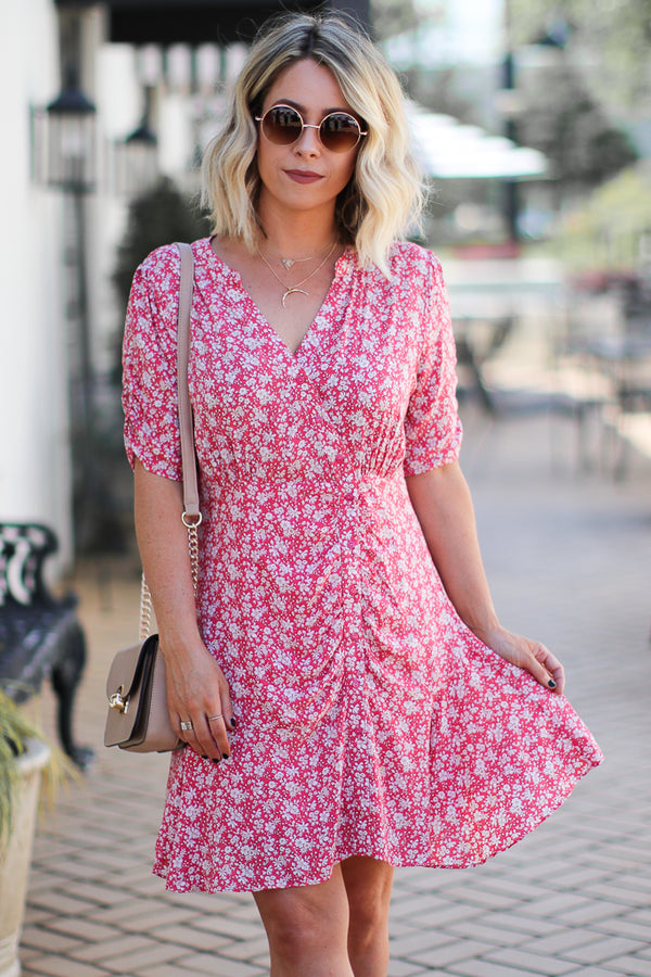 S / Coral Getting Closer Ruched Floral Dress - Madison + Mallory